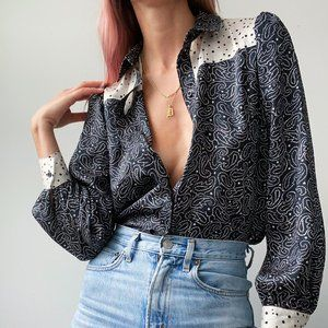 NWT Topshop Paisley Button Up